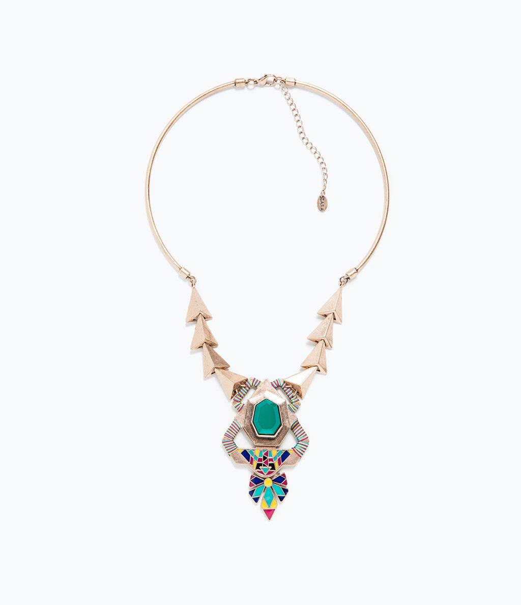 Geometric Motif Necklace - secondary colour: mint green; predominant colour: gold; occasions: casual, evening, occasion, creative work; length: mid; size: large/oversized; material: chain/metal; finish: metallic; embellishment: jewels/stone; style: bib/statement; season: s/s 2015