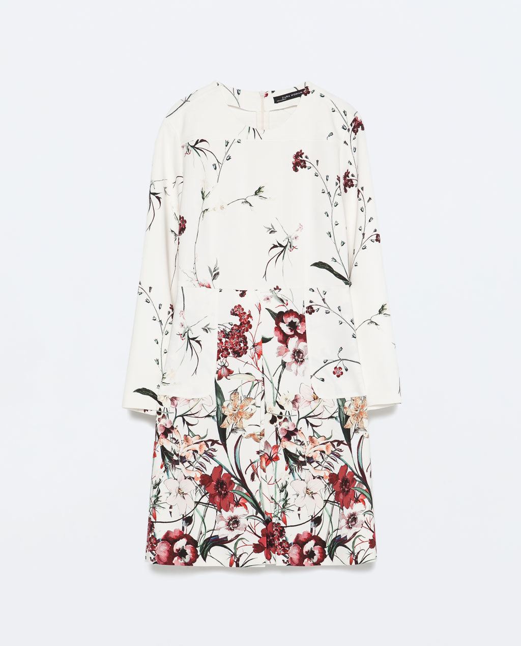 Printed Front Pleat Dress With Pocket - style: shift; length: mid thigh; predominant colour: white; fit: soft a-line; neckline: collarstand; sleeve length: long sleeve; sleeve style: standard; pattern type: fabric; pattern: florals; texture group: woven light midweight; occasions: creative work; season: s/s 2015