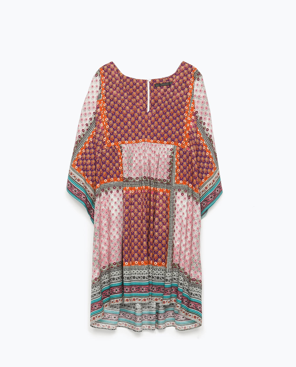 Printed Dress - style: smock; length: mid thigh; neckline: low v-neck; fit: loose; occasions: casual; fibres: viscose/rayon - 100%; predominant colour: multicoloured; sleeve length: 3/4 length; sleeve style: standard; pattern type: fabric; pattern size: standard; pattern: patterned/print; texture group: jersey - stretchy/drapey; season: s/s 2015; multicoloured: multicoloured; wardrobe: highlight