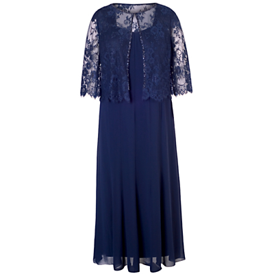 Chiffon Panel Dress And Lace Jacket Set Dress - style: shift; length: calf length; neckline: round neck; pattern: plain; predominant colour: navy; occasions: evening, occasion; fit: body skimming; fibres: polyester/polyamide - 100%; hip detail: subtle/flattering hip detail; sleeve length: 3/4 length; sleeve style: standard; texture group: sheer fabrics/chiffon/organza etc.; pattern type: fabric; embellishment: lace; season: s/s 2015; wardrobe: event