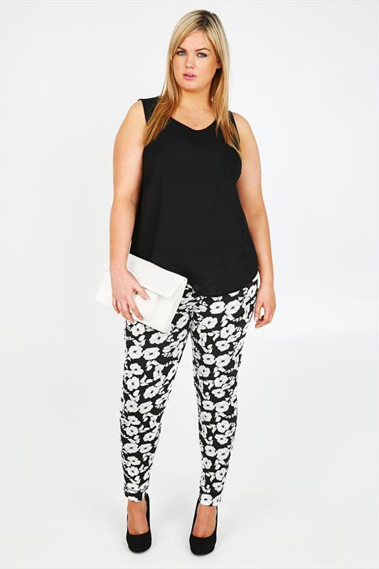 Black And White Floral Print Harem Trousers - length: standard; waist: mid/regular rise; secondary colour: white; predominant colour: black; occasions: casual, creative work; fit: slim leg; pattern type: fabric; pattern: florals; texture group: other - light to midweight; style: standard; season: s/s 2015; pattern size: standard (bottom); wardrobe: highlight