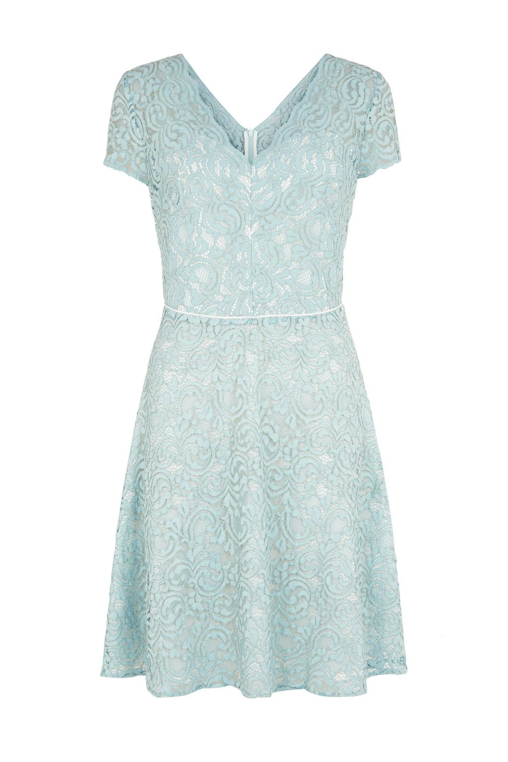 Gardenia Dress, Green - length: mid thigh; neckline: low v-neck; predominant colour: pistachio; fit: fitted at waist & bust; style: fit & flare; fibres: nylon - mix; occasions: occasion; sleeve length: short sleeve; sleeve style: standard; texture group: lace; pattern type: fabric; pattern size: standard; pattern: patterned/print; season: s/s 2015; wardrobe: event