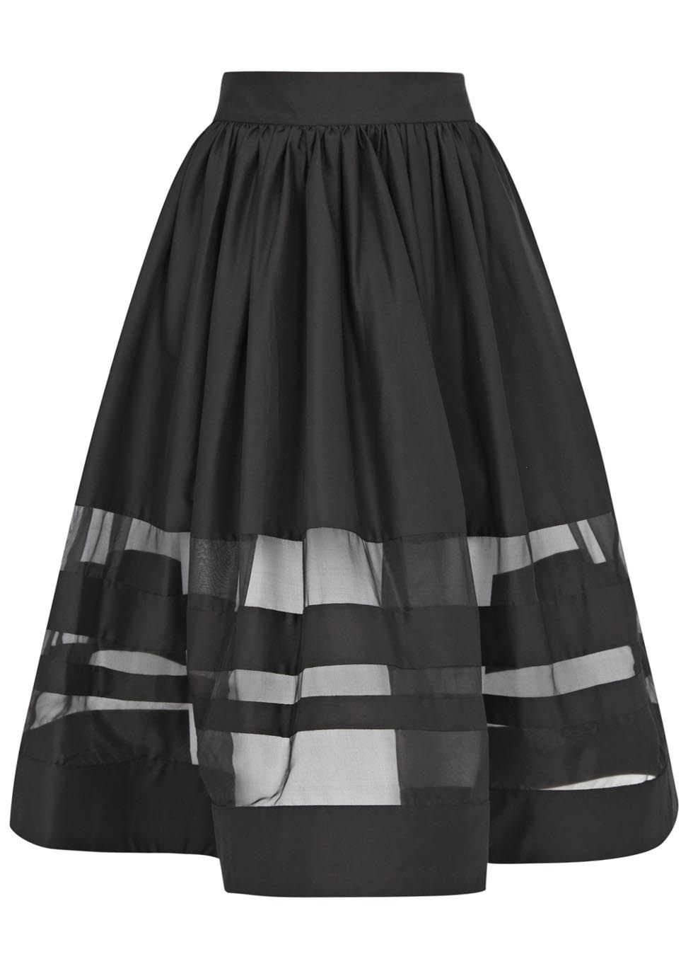 Misty Black Cotton Blend Skirt - length: below the knee; pattern: plain; style: full/prom skirt; fit: loose/voluminous; waist: high rise; predominant colour: black; fibres: cotton - mix; occasions: occasion, creative work; texture group: cotton feel fabrics; pattern type: fabric; season: s/s 2015; pattern size: standard (bottom); wardrobe: basic