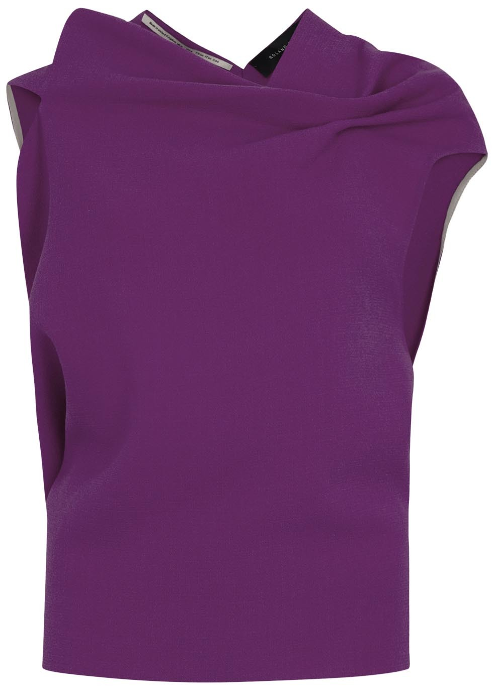 Eugene Violet Wool Crepe Top - pattern: plain; sleeve style: sleeveless; neckline: asymmetric; predominant colour: purple; occasions: casual, evening, creative work; length: standard; style: top; fibres: wool - 100%; fit: straight cut; sleeve length: short sleeve; texture group: crepes; pattern type: fabric; season: s/s 2015; wardrobe: highlight