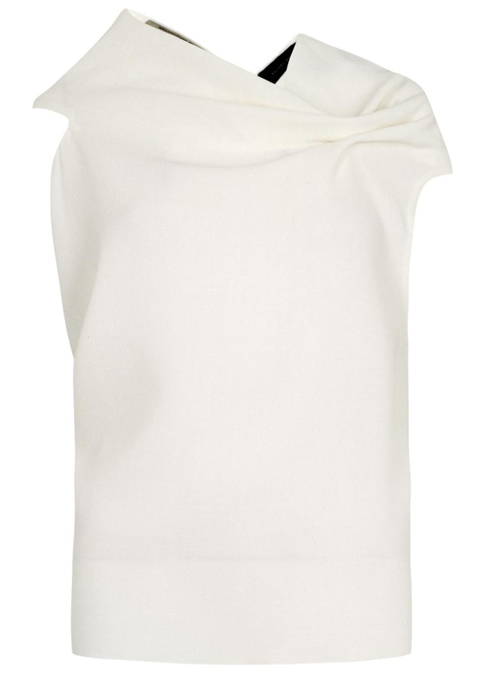 Eugene Ivory Wool Crepe Top - neckline: v-neck; pattern: plain; sleeve style: sleeveless; predominant colour: ivory/cream; occasions: casual, evening, creative work; length: standard; style: top; fibres: wool - 100%; fit: straight cut; sleeve length: short sleeve; texture group: crepes; pattern type: fabric; season: s/s 2015; wardrobe: basic