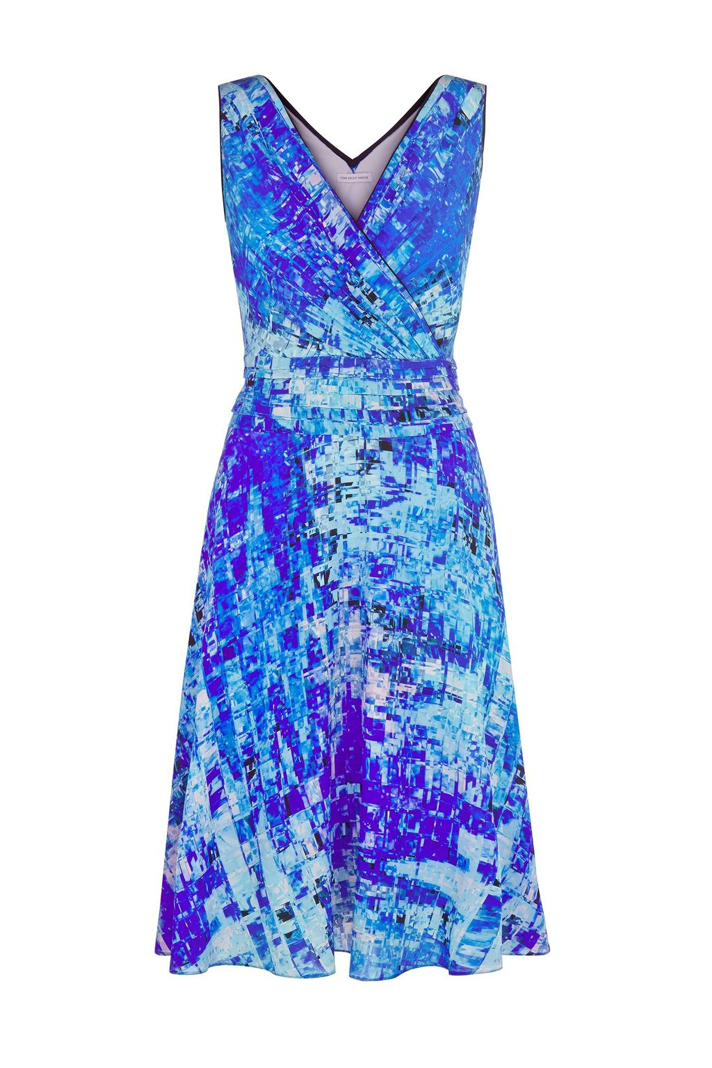Cosmos Dress, Blue - style: faux wrap/wrap; neckline: v-neck; sleeve style: sleeveless; predominant colour: diva blue; secondary colour: pale blue; occasions: evening, occasion; length: on the knee; fit: fitted at waist & bust; fibres: silk - 100%; sleeve length: sleeveless; texture group: silky - light; pattern type: fabric; pattern: patterned/print; season: s/s 2015; wardrobe: event