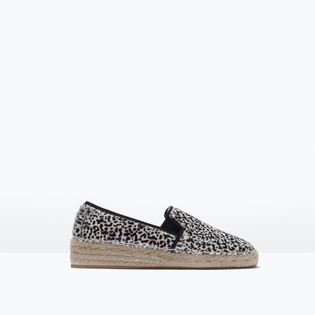 Printed Leather Espadrilles - secondary colour: stone; predominant colour: black; occasions: casual; material: leather; heel height: flat; toe: round toe; finish: plain; pattern: animal print; style: espadrilles; shoe detail: platform; season: s/s 2015; wardrobe: highlight