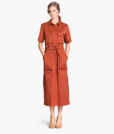 Long Shirt Dress - style: shirt; length: calf length; neckline: shirt collar/peter pan/zip with opening; pattern: plain; waist detail: belted waist/tie at waist/drawstring; predominant colour: terracotta; occasions: casual, creative work; fit: straight cut; fibres: polyester/polyamide - mix; hip detail: subtle/flattering hip detail; sleeve length: half sleeve; sleeve style: standard; bust detail: bulky details at bust; pattern type: fabric; texture group: woven light midweight; season: s/s 2015; wardrobe: highlight