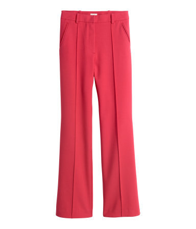 Flared Suit Trousers - length: standard; pattern: plain; waist: mid/regular rise; predominant colour: pink; occasions: evening, occasion, creative work; fibres: cotton - stretch; fit: flares; pattern type: fabric; texture group: woven light midweight; style: standard; season: s/s 2015; wardrobe: highlight