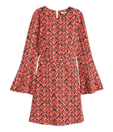 Dress With Trumpet Sleeves - neckline: round neck; sleeve style: trumpet; predominant colour: true red; secondary colour: black; occasions: casual, creative work; length: just above the knee; fit: fitted at waist & bust; style: fit & flare; fibres: polyester/polyamide - stretch; sleeve length: long sleeve; pattern type: fabric; pattern size: big & busy; pattern: patterned/print; texture group: woven light midweight; trends: seventies retro; season: s/s 2015; wardrobe: highlight