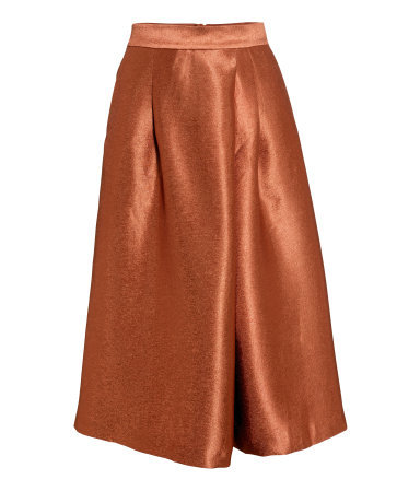 Calf Length Skirt - length: below the knee; pattern: plain; style: full/prom skirt; fit: loose/voluminous; waist: high rise; predominant colour: terracotta; occasions: evening, occasion, creative work; fibres: polyester/polyamide - mix; texture group: structured shiny - satin/tafetta/silk etc.; pattern type: fabric; season: s/s 2015; wardrobe: highlight