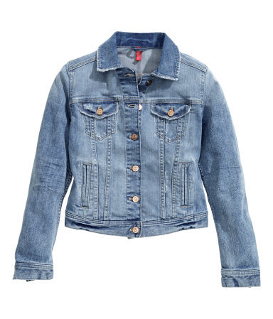 Denim Jacket - pattern: plain; style: denim; fit: slim fit; predominant colour: denim; occasions: casual, creative work; length: standard; fibres: cotton - stretch; collar: shirt collar/peter pan/zip with opening; sleeve length: long sleeve; sleeve style: standard; texture group: denim; collar break: high/illusion of break when open; pattern type: fabric; season: s/s 2015; wardrobe: basic