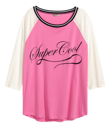 + Jersey Top - neckline: round neck; sleeve style: raglan; style: t-shirt; secondary colour: white; predominant colour: hot pink; occasions: casual, creative work; length: standard; fit: loose; sleeve length: 3/4 length; pattern type: fabric; pattern size: standard; pattern: colourblock; texture group: jersey - stretchy/drapey; season: s/s 2015; wardrobe: highlight