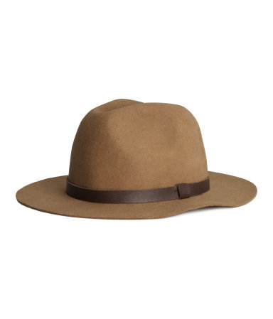 Wool Hat - secondary colour: chocolate brown; predominant colour: camel; occasions: casual; type of pattern: standard; style: fedora; size: standard; material: knits; pattern: plain; season: s/s 2015