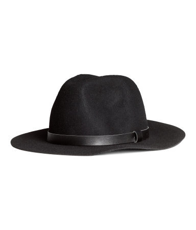 Wool Hat - predominant colour: black; occasions: casual; style: fedora; size: standard; material: felt; pattern: plain; season: s/s 2015