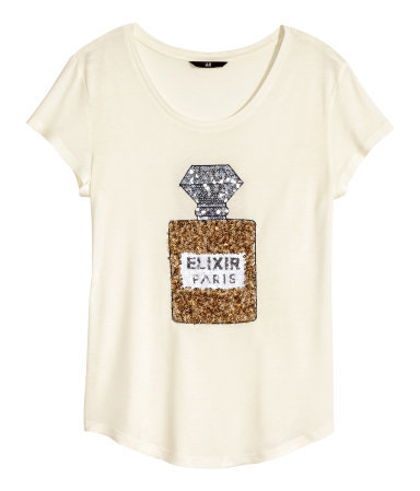 Sequined Top - neckline: roll neck; predominant colour: ivory/cream; secondary colour: gold; occasions: casual, creative work; length: standard; style: top; fibres: cotton - mix; fit: loose; sleeve length: short sleeve; sleeve style: standard; pattern type: fabric; pattern size: standard; pattern: patterned/print; texture group: jersey - stretchy/drapey; embellishment: sequins; season: s/s 2015
