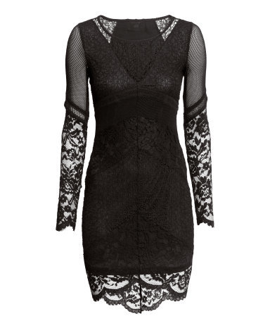 Lace Dress - length: mid thigh; neckline: round neck; fit: tight; style: bodycon; predominant colour: black; occasions: evening, occasion; fibres: polyester/polyamide - stretch; back detail: longer hem at back than at front; sleeve length: long sleeve; sleeve style: standard; texture group: lace; pattern type: fabric; pattern size: standard; pattern: patterned/print; season: s/s 2015; wardrobe: event