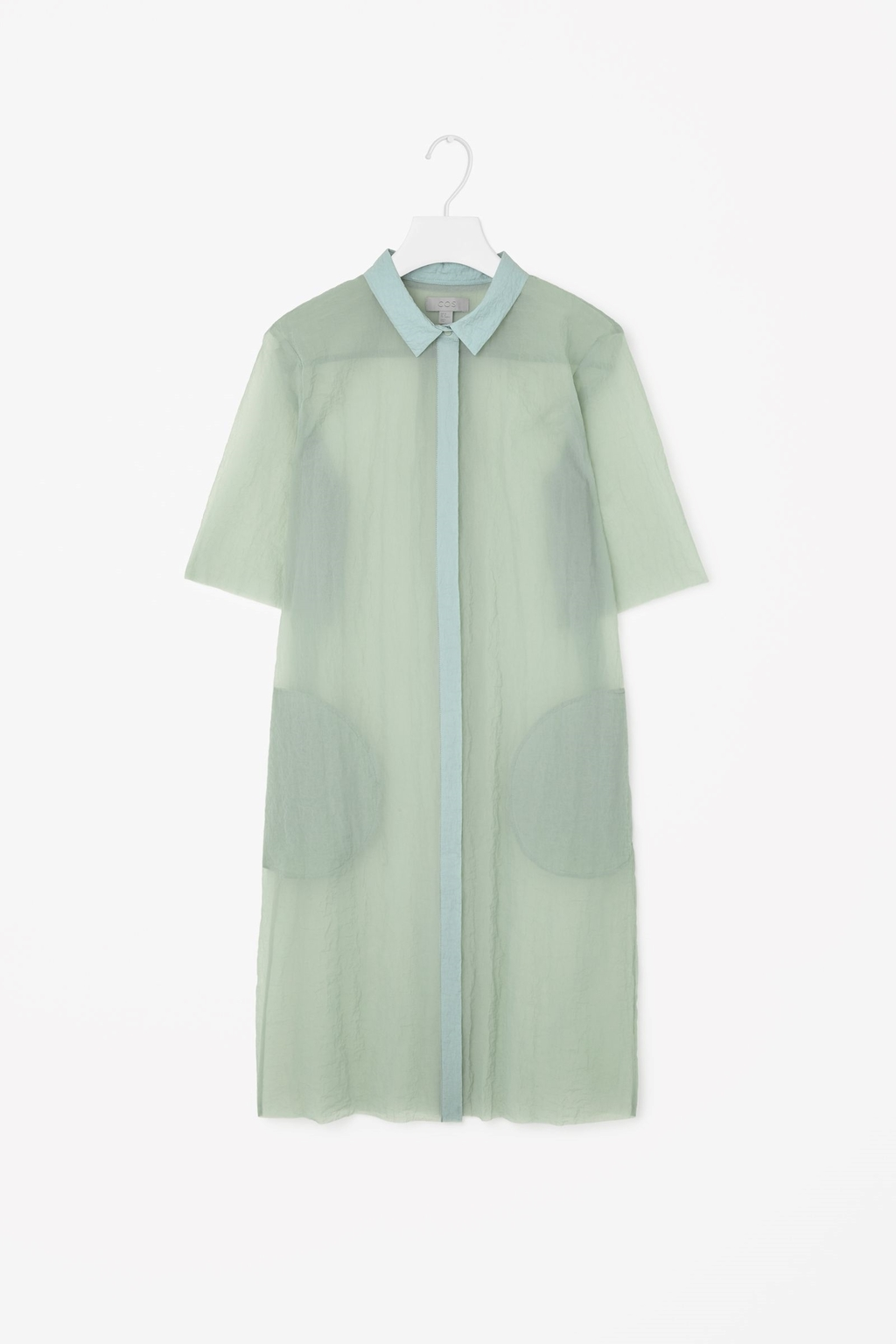 Translucent Shirt Dress - style: shirt; length: mid thigh; neckline: shirt collar/peter pan/zip with opening; pattern: plain; secondary colour: pale blue; predominant colour: pistachio; occasions: casual, creative work; fit: straight cut; fibres: polyester/polyamide - 100%; sleeve length: short sleeve; sleeve style: standard; texture group: sheer fabrics/chiffon/organza etc.; season: s/s 2015