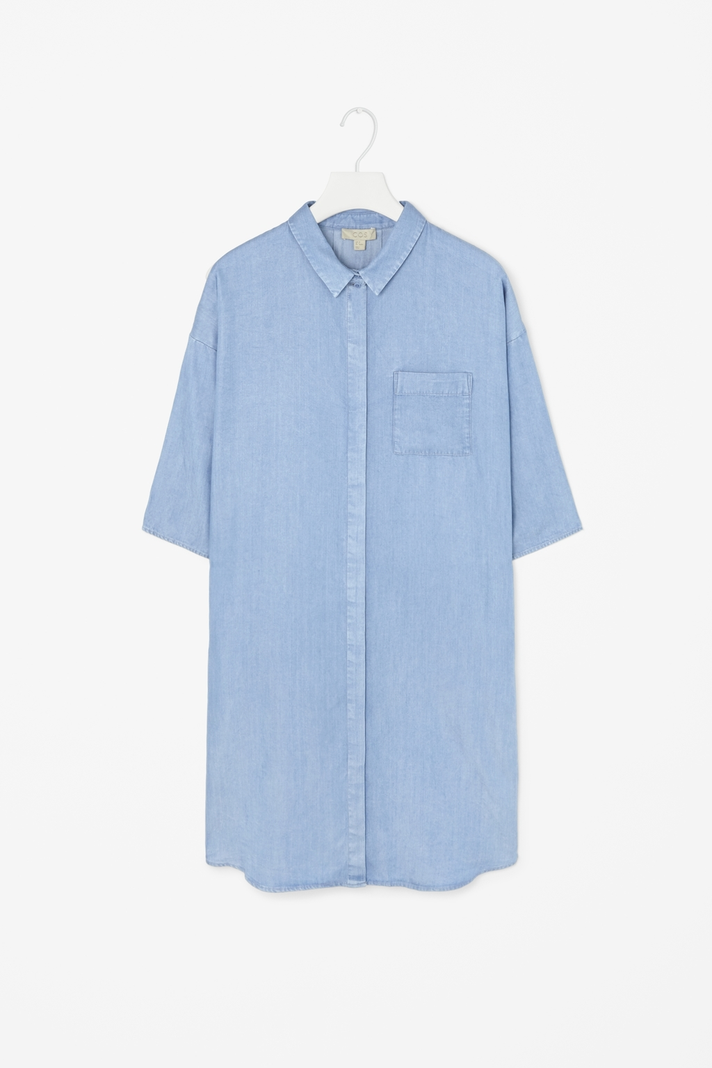 Denim Look Shirt Dress - style: shirt; neckline: shirt collar/peter pan/zip with opening; pattern: plain; predominant colour: pale blue; occasions: casual, creative work; length: just above the knee; fit: straight cut; fibres: viscose/rayon - 100%; sleeve length: 3/4 length; sleeve style: standard; texture group: denim; pattern type: fabric; season: s/s 2015; wardrobe: basic