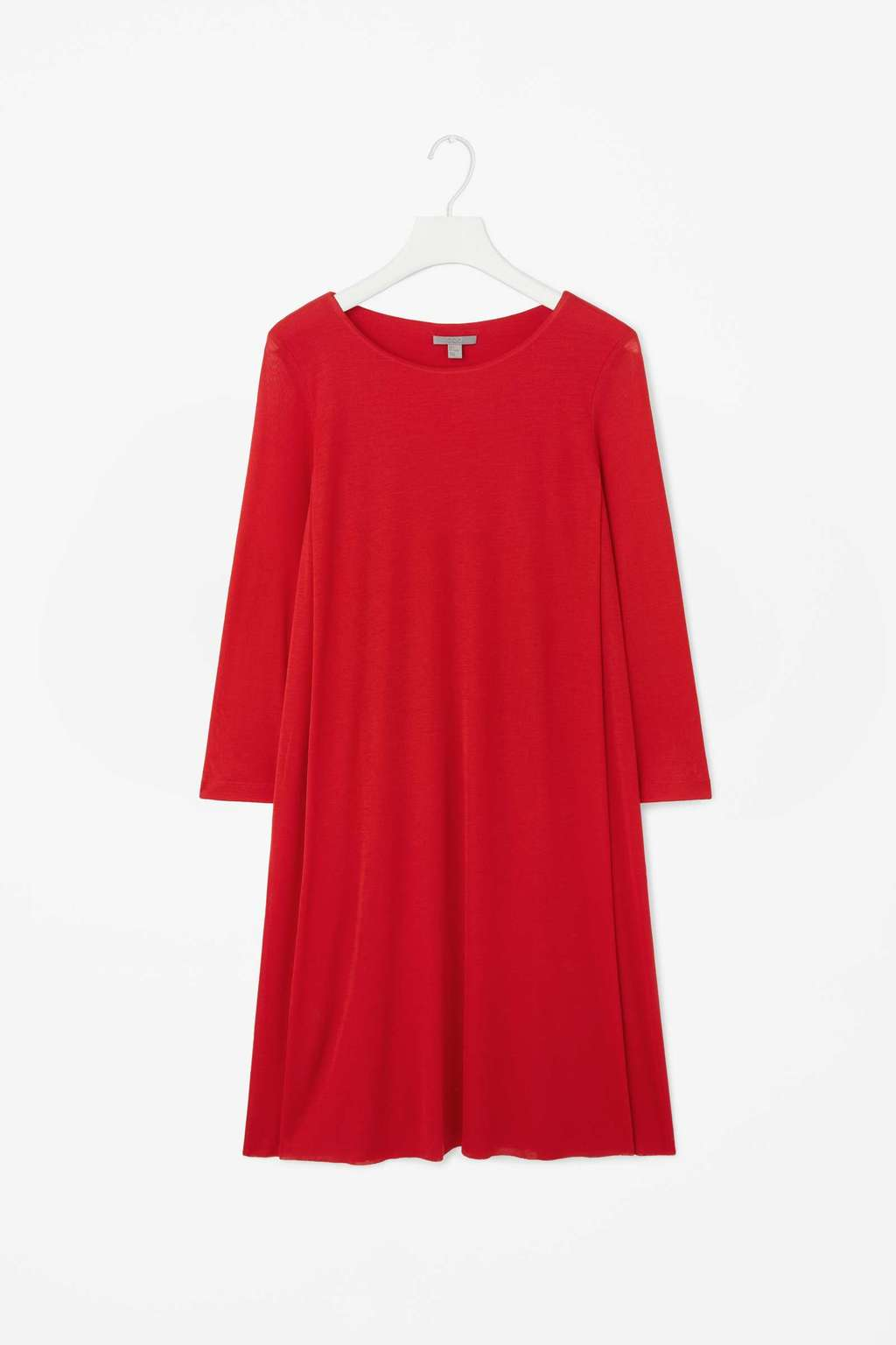 Double Layer Dress - style: tunic; neckline: round neck; fit: loose; pattern: plain; predominant colour: true red; occasions: casual, creative work; length: just above the knee; fibres: viscose/rayon - 100%; sleeve length: 3/4 length; sleeve style: standard; pattern type: knitted - fine stitch; texture group: jersey - stretchy/drapey; season: s/s 2015; wardrobe: highlight