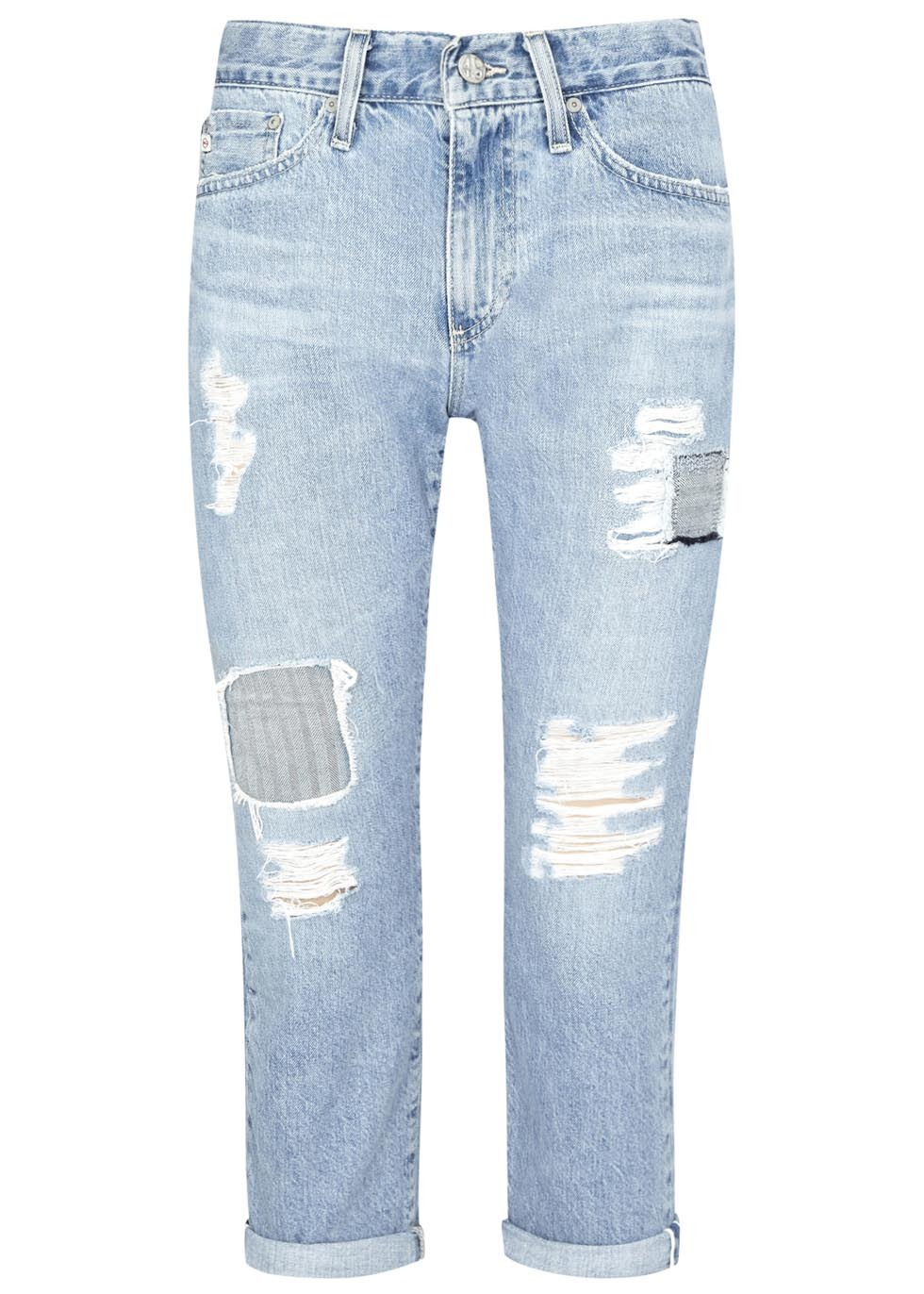 The Drew Light Blue Boyfriend Jeans Size W30 - style: boyfriend; length: standard; pattern: plain; pocket detail: traditional 5 pocket; waist: mid/regular rise; predominant colour: denim; occasions: casual; fibres: cotton - stretch; jeans detail: whiskering, washed/faded, rips; jeans & bottoms detail: turn ups; texture group: denim; pattern type: fabric; season: s/s 2015; wardrobe: basic