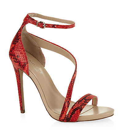 Snake Effect Gosh Sandal - predominant colour: bright orange; occasions: evening, occasion; material: leather; ankle detail: ankle strap; heel: stiletto; toe: open toe/peeptoe; style: strappy; finish: plain; pattern: animal print; heel height: very high; season: s/s 2015; wardrobe: event