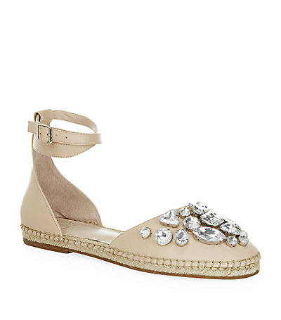 Moonstone Sandal - predominant colour: stone; occasions: casual, evening; material: leather; heel height: flat; embellishment: crystals/glass; ankle detail: ankle strap; toe: round toe; finish: plain; pattern: plain; style: espadrilles; season: s/s 2015; wardrobe: highlight