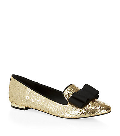 Lavish Glitter Slipper - predominant colour: gold; secondary colour: black; occasions: evening, creative work; material: leather; heel height: flat; toe: pointed toe; style: ballerinas / pumps; finish: plain; pattern: plain; embellishment: bow; season: s/s 2015; wardrobe: basic
