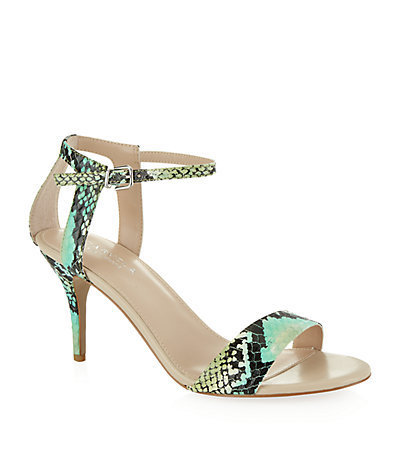 Kollude Snake Effect Leather Sandal - occasions: evening, occasion; predominant colour: multicoloured; material: leather; heel height: high; ankle detail: ankle strap; heel: stiletto; toe: open toe/peeptoe; style: strappy; finish: plain; pattern: animal print; season: s/s 2015; multicoloured: multicoloured; wardrobe: event