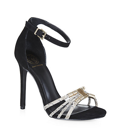 Suede Havana Sandals - secondary colour: silver; predominant colour: black; occasions: evening, occasion; material: suede; ankle detail: ankle strap; heel: stiletto; toe: open toe/peeptoe; style: strappy; finish: metallic; pattern: animal print; embellishment: chain/metal; heel height: very high; season: s/s 2015; wardrobe: event