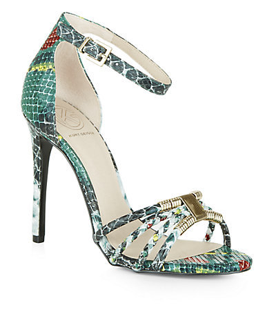 Snake Effect Havana Sandals - occasions: evening, occasion; predominant colour: multicoloured; material: faux leather; ankle detail: ankle strap; heel: stiletto; toe: open toe/peeptoe; style: strappy; finish: plain; pattern: animal print; heel height: very high; season: s/s 2015; multicoloured: multicoloured; wardrobe: event