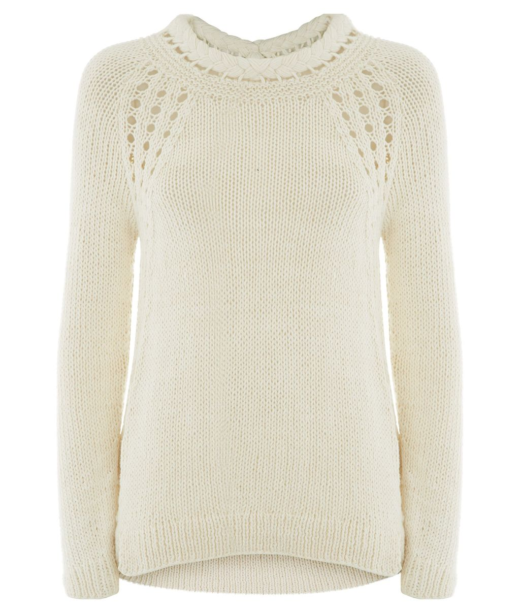 Cora Plaited Collar Jumper, Cream - pattern: plain; style: standard; predominant colour: ivory/cream; occasions: casual, evening, creative work; length: standard; fibres: cotton - 100%; fit: standard fit; neckline: crew; back detail: longer hem at back than at front; sleeve length: long sleeve; sleeve style: standard; texture group: knits/crochet; pattern type: knitted - fine stitch; season: s/s 2015; wardrobe: basic