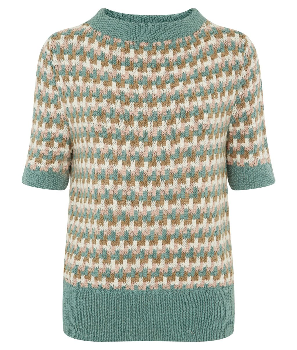 Rowena Short Sleeved Jumper, Blue - neckline: high neck; style: standard; occasions: casual, creative work; length: standard; fibres: cotton - 100%; fit: standard fit; predominant colour: multicoloured; sleeve length: half sleeve; sleeve style: standard; texture group: knits/crochet; pattern type: knitted - fine stitch; pattern: patterned/print; season: s/s 2015; pattern size: big & busy (top); multicoloured: multicoloured