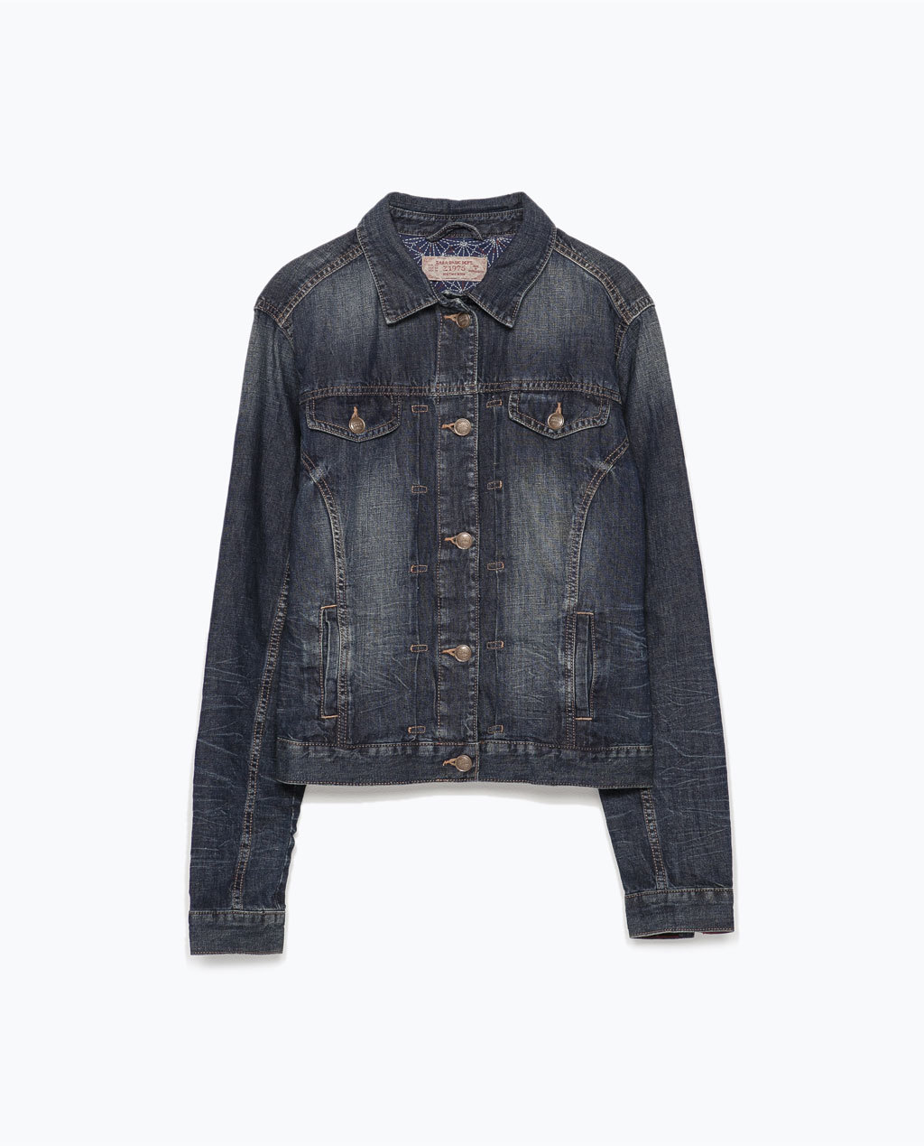 Denim Jacket - pattern: plain; style: denim; predominant colour: navy; occasions: casual, creative work; length: standard; fit: straight cut (boxy); fibres: cotton - mix; collar: shirt collar/peter pan/zip with opening; sleeve length: long sleeve; sleeve style: standard; texture group: denim; collar break: high/illusion of break when open; pattern type: fabric; season: s/s 2015; wardrobe: basic