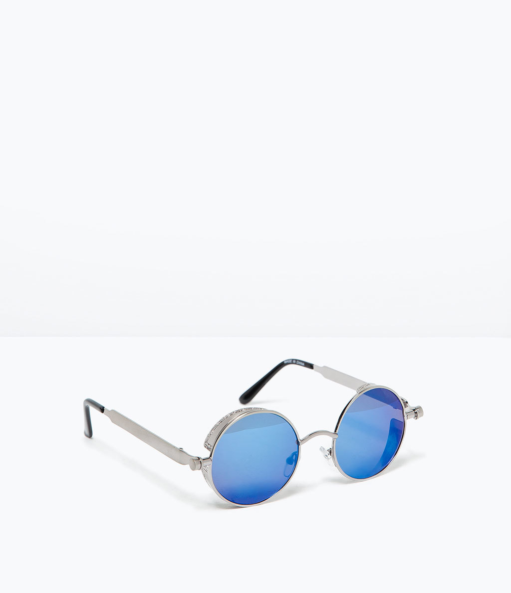 Mirrored Sunglasses - secondary colour: pale blue; predominant colour: silver; occasions: casual, holiday; style: round; size: standard; material: chain/metal; pattern: plain; finish: metallic; season: s/s 2015; wardrobe: basic