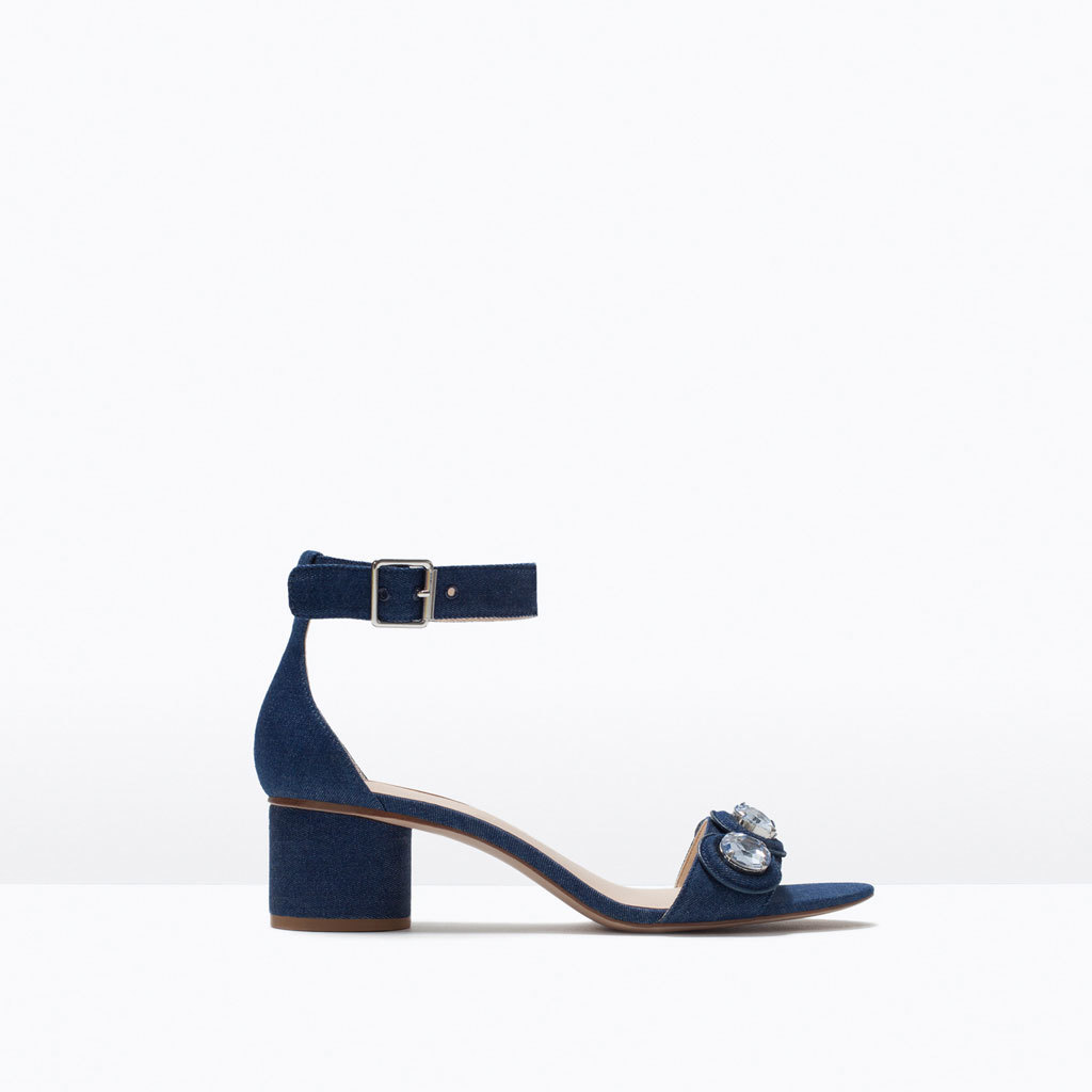 Low Heel Jewelled Sandals - predominant colour: navy; secondary colour: silver; occasions: casual, creative work; material: fabric; heel height: mid; embellishment: jewels/stone; ankle detail: ankle strap; heel: block; toe: open toe/peeptoe; style: standard; finish: plain; pattern: plain; season: s/s 2015
