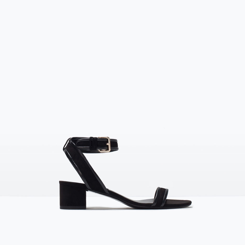 Block Heel Ankle Strap Sandals - predominant colour: black; occasions: casual, creative work; material: faux leather; heel height: mid; ankle detail: ankle strap; heel: block; toe: open toe/peeptoe; style: standard; finish: plain; pattern: plain; season: s/s 2015; wardrobe: investment