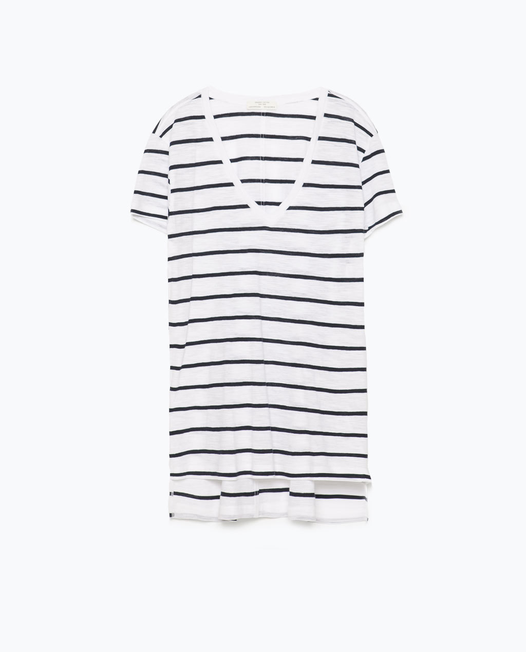 V Neck Striped T Shirt - neckline: low v-neck; pattern: horizontal stripes; length: below the bottom; style: t-shirt; predominant colour: white; secondary colour: navy; occasions: casual, holiday; fit: loose; sleeve length: short sleeve; sleeve style: standard; pattern type: fabric; pattern size: standard; texture group: jersey - stretchy/drapey; season: s/s 2015; wardrobe: basic
