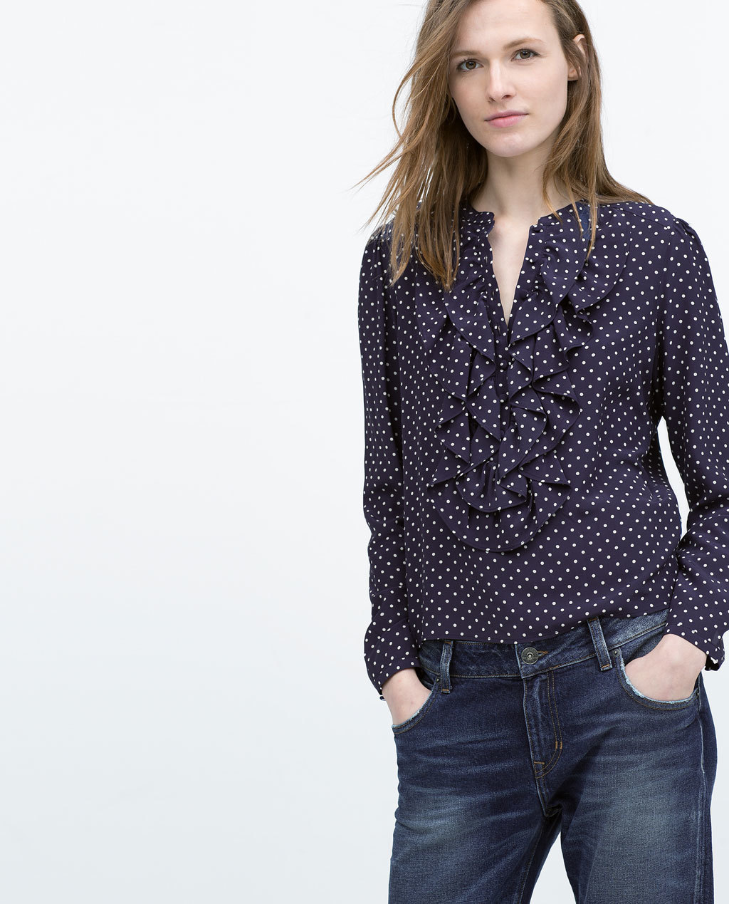 Polka Dot Frilled Blouse - style: blouse; pattern: polka dot; secondary colour: white; predominant colour: navy; occasions: casual, creative work; length: standard; neckline: collarstand & mandarin with v-neck; fibres: viscose/rayon - 100%; fit: straight cut; sleeve length: long sleeve; sleeve style: standard; bust detail: bulky details at bust; pattern type: fabric; pattern size: standard; texture group: other - light to midweight; season: s/s 2015; wardrobe: highlight