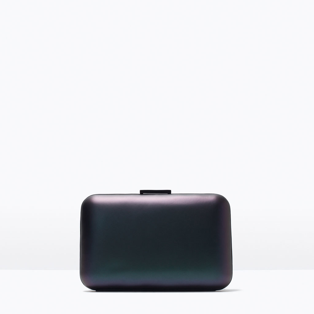 Metallic Box Clutch - predominant colour: navy; occasions: evening, occasion, creative work; type of pattern: standard; style: clutch; length: hand carry; size: small; material: faux leather; pattern: plain; finish: metallic; season: s/s 2015; wardrobe: investment