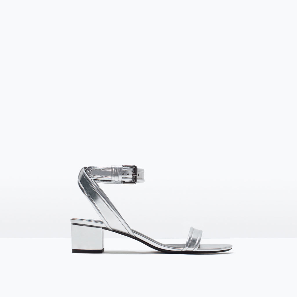 Block Heel Ankle Strap Sandals - predominant colour: silver; occasions: casual; material: faux leather; heel height: mid; ankle detail: ankle strap; heel: block; toe: open toe/peeptoe; style: standard; finish: metallic; pattern: plain; season: s/s 2015; wardrobe: highlight
