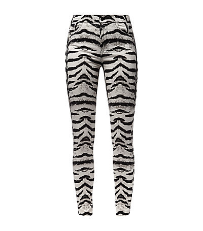 Tiger Print High Waist Skinny Jeans - style: skinny leg; length: standard; pocket detail: traditional 5 pocket; waist: mid/regular rise; secondary colour: light grey; predominant colour: black; occasions: casual, evening; texture group: denim; pattern type: fabric; pattern: animal print; season: s/s 2015; pattern size: standard (bottom); wardrobe: highlight