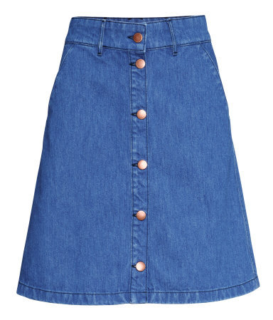 Denim Skirt - length: mid thigh; pattern: plain; fit: loose/voluminous; waist: high rise; predominant colour: denim; occasions: casual; style: a-line; fibres: cotton - 100%; texture group: denim; pattern type: fabric; trends: alternative denim; season: s/s 2015