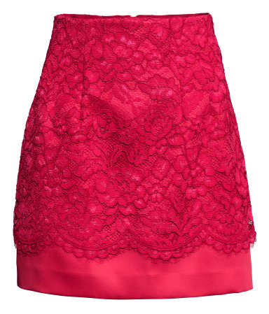 Lace Covered Satin Skirt - length: mini; pattern: plain; fit: tailored/fitted; waist: high rise; predominant colour: true red; occasions: evening; style: mini skirt; fibres: polyester/polyamide - stretch; texture group: structured shiny - satin/tafetta/silk etc.; pattern type: fabric; embellishment: lace; season: s/s 2015; wardrobe: event; embellishment location: all over