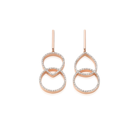 Rose Gold Vermeil Naida Kiss Open Cocktail Earrings Diamond - predominant colour: gold; occasions: evening, occasion; style: drop; length: mid; size: standard; material: chain/metal; fastening: pierced; finish: metallic; embellishment: crystals/glass; season: s/s 2015; wardrobe: event