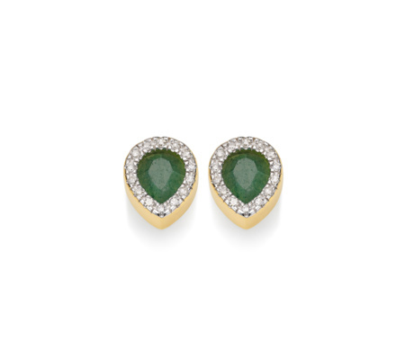 Gold Vermeil Naida Lotus Stud Earrings Green Aventurine - secondary colour: dark green; predominant colour: gold; occasions: evening, occasion; style: stud; length: short; size: small/fine; material: chain/metal; fastening: pierced; finish: metallic; embellishment: jewels/stone; season: s/s 2015; wardrobe: event