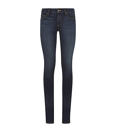 Manhattan Transcend Boot Cut Jeans - style: skinny leg; length: standard; pattern: plain; pocket detail: traditional 5 pocket; waist: mid/regular rise; predominant colour: navy; occasions: casual; fibres: cotton - stretch; jeans detail: whiskering, dark wash, washed/faded; texture group: denim; pattern type: fabric; season: s/s 2015