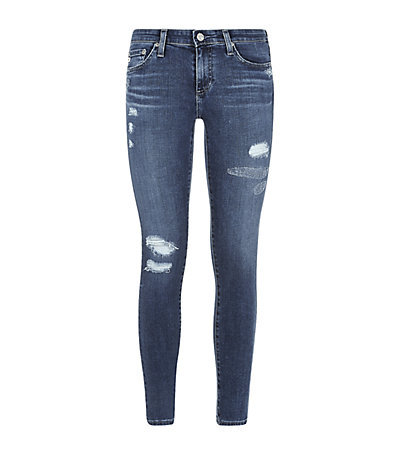 The Distressed Legging Jeans - length: standard; pattern: plain; style: jeggings; pocket detail: traditional 5 pocket; waist: mid/regular rise; predominant colour: navy; occasions: casual; fibres: cotton - stretch; jeans detail: washed/faded, rips; texture group: denim; pattern type: fabric; season: s/s 2015; wardrobe: basic