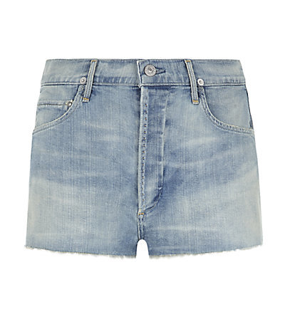 Chloe High Waist Denim Shorts - pattern: plain; pocket detail: traditional 5 pocket; waist: mid/regular rise; predominant colour: denim; occasions: casual, holiday; fibres: cotton - 100%; texture group: denim; pattern type: fabric; season: s/s 2015; style: denim; length: short shorts; fit: slim leg; wardrobe: holiday