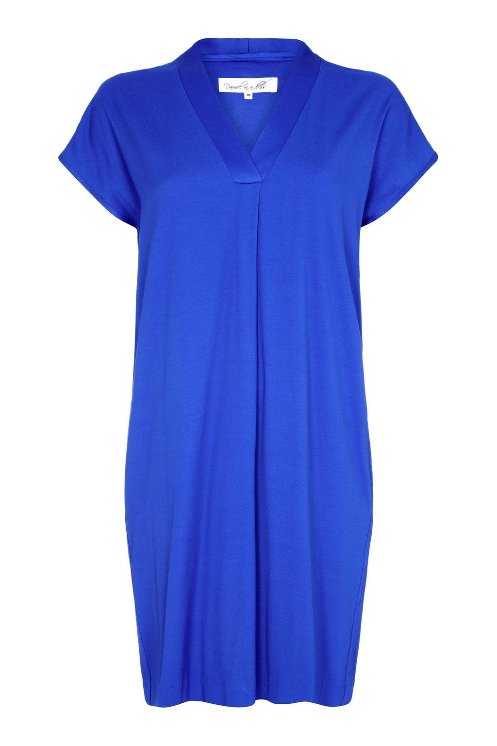 Bondi Dress, Blue - style: shift; neckline: v-neck; fit: loose; pattern: plain; predominant colour: royal blue; occasions: casual, evening; length: just above the knee; fibres: viscose/rayon - stretch; sleeve length: short sleeve; sleeve style: standard; pattern type: fabric; texture group: jersey - stretchy/drapey; season: s/s 2015